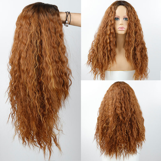 26 Inch Synthetic Wig Blonde Red Black Ombre Black Wig for Women Long Curly Blonde Brown Red Brown Hair Female