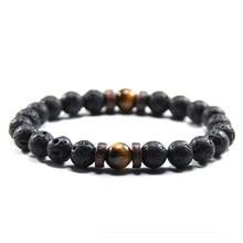 NIUYITID – Bracelet en œil de tigre pour homme, bijou en Pierre Naturelle, perle de lave, corde élastique, livraison directe, 8mm