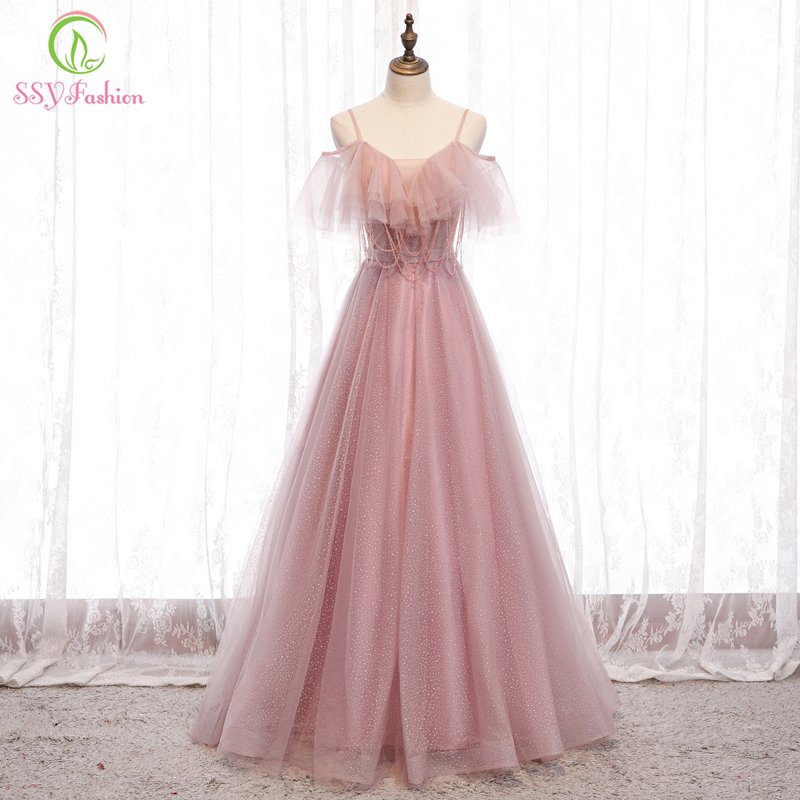 SSYFashion New Sweet Pink Evening Dress Sexy V-neck Strap Beading Tassel Long Simple Prom Formal Gown Special Occasion Dresses