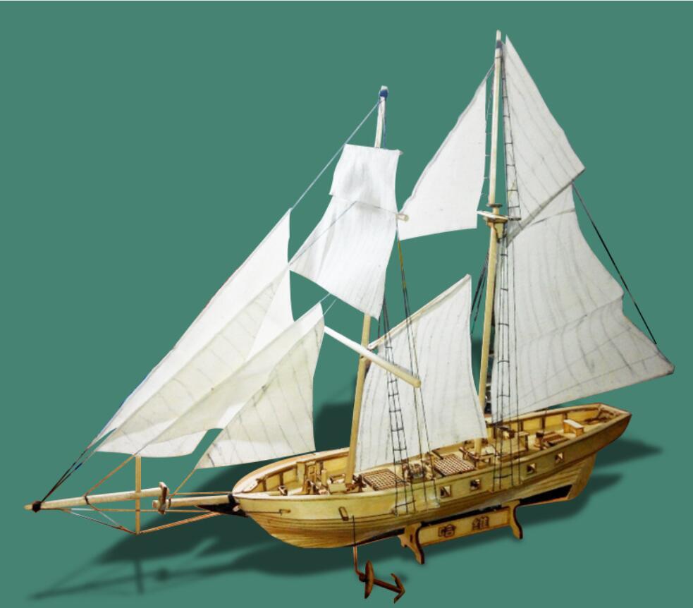 2019 RCtown Building Assembly Kits Ship Model Wooden Sailing Boat Toys Harvey Assembled Sailing Model Wooden Kit DIY