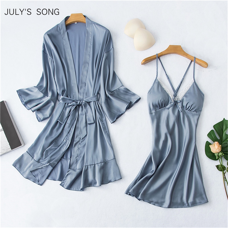 JULY'S SONG 2020 Women Sexy Faux Silk Robe Nightdress Set 2 Piece Pajama Set Satin Sling Spring Summer Robe & Gown Set Sleepwear