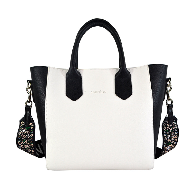 White with Black Wide Ribbon WOMEN'S Shoulder Bag Blackish Green Joint Double-Sided Shoulder Bag Simple Versatile Chain WOMEN'S