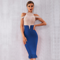 Off Shoulder Blue Cocktail Dress Beaded Semi Formal Bodycon for Wedding Party Black Red Coctail Dress with Feather