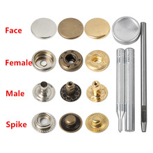 30sets+tool 655# 633# 831 201 DIY Metal No Sewing Snap Fastener Button Press Popper Stud Leather Bag Clothes Jacket Repair Rivet