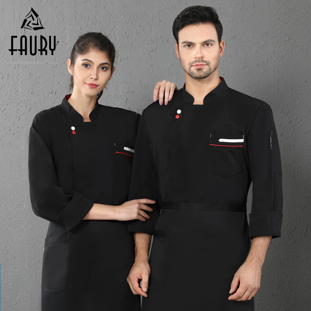Chef Uniform Two Buckle Long Sleeve Cooking Jacket Kitchen Restaurant Unisex Men Women Hotel Cafe Barber Shop Waiter Work Wear