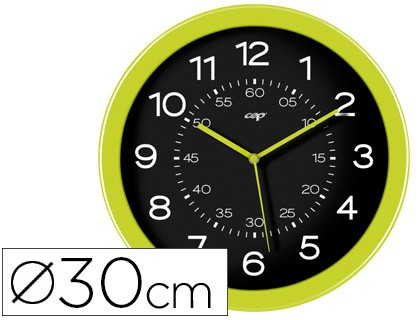 WATCH CEP WALL PLASTIC OFFICE ROUND DIAMETER 30 CM GREEN COLOR AND BLACK COLOR DIAL