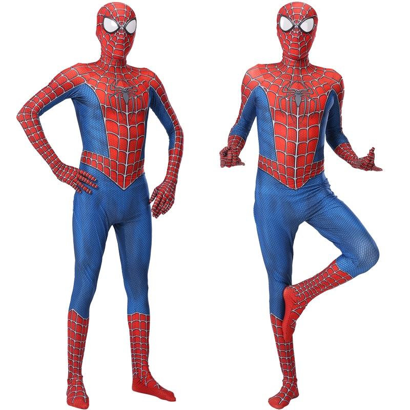Laste ja täiskasvanute Spiderman kostüüm - punane ja must variant pikkusele 100-190cm