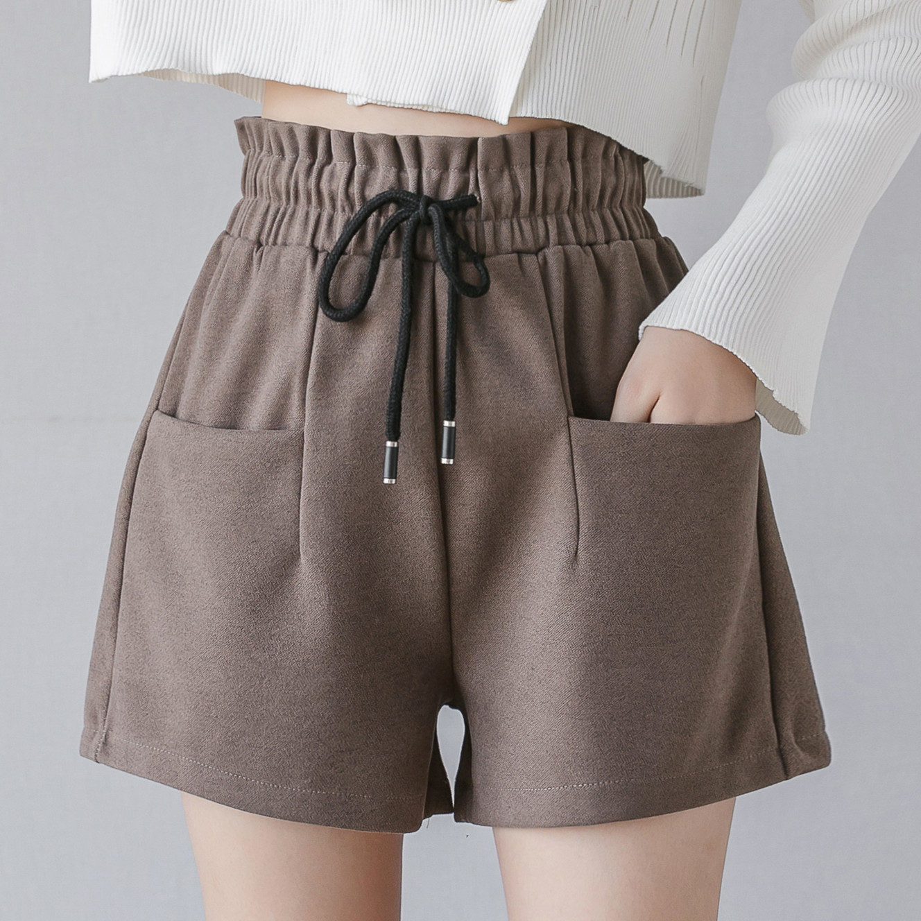 Fall Winter Short Pants Tweed Wool Shorts Women 2019 Sexy High Waist Shorts Fashion Plus Size Flare Boots Trousers Loose 4XL
