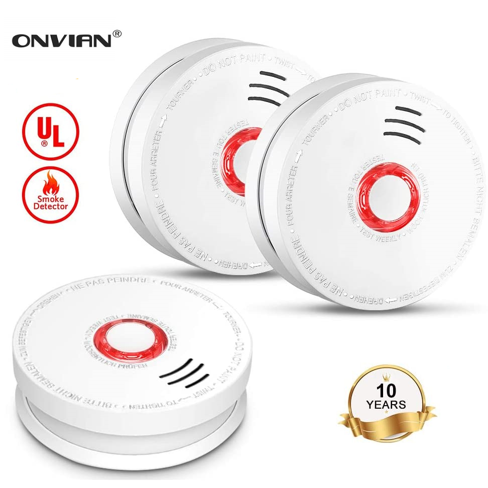 Onvian Smoke Detector Fire Alarm Battery Operated Photoelectric Sensor Smoke Alarms With Test Button For Home Depot Hotel School
