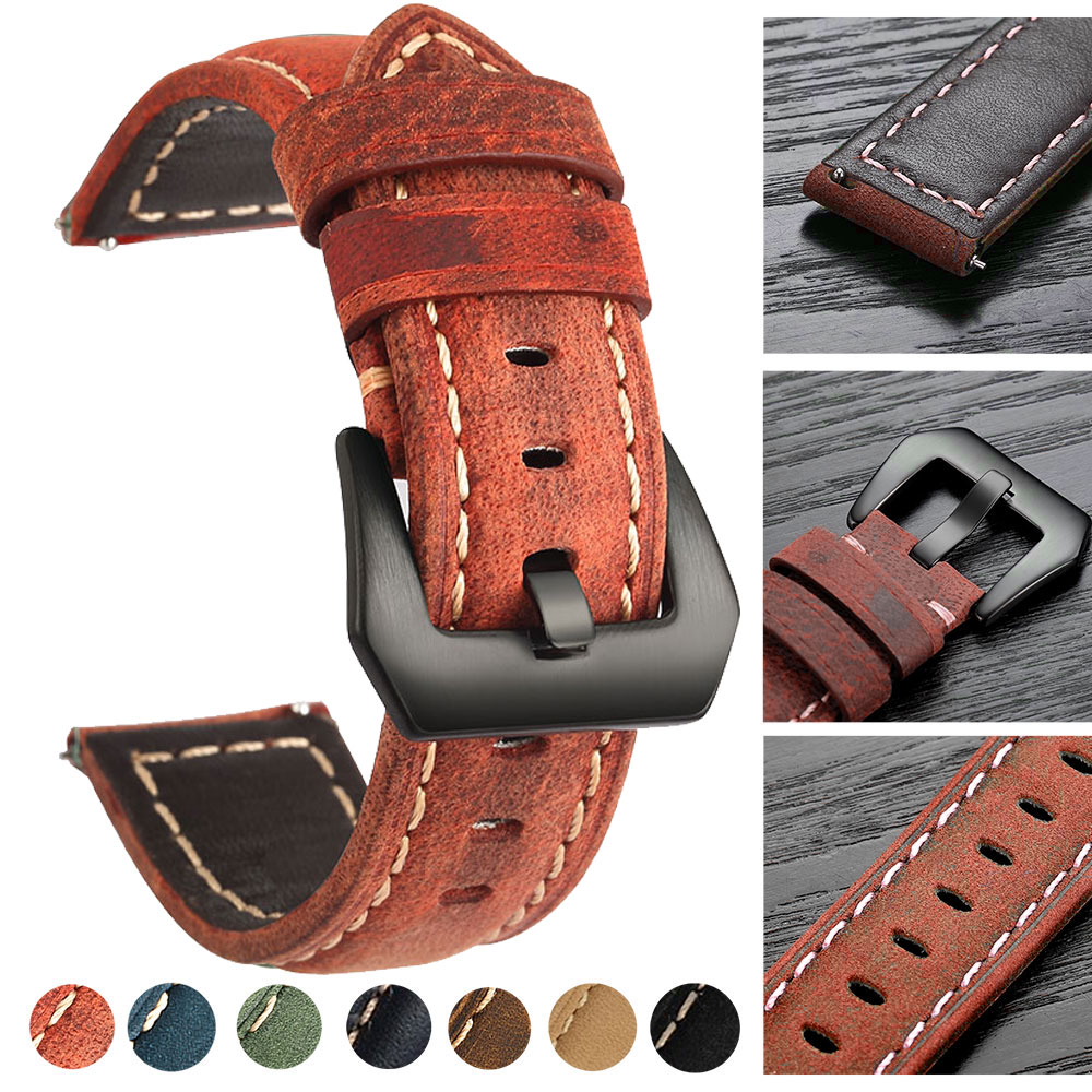 20mm 22mm Leather Watch Band For Amazfit Huawei Samsung Galaxy Watch 46mm 42mm Gear S3 Strap Replacement Straps
