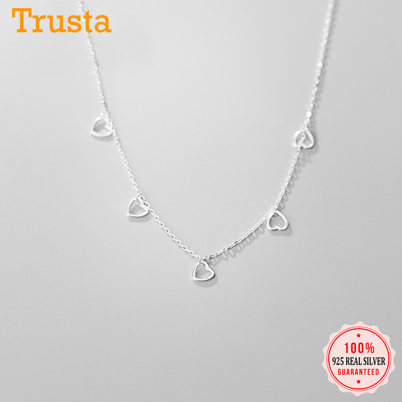 Trustdaiv Sauthentic Heart Choker Necklace Chain Party Small Hollow Heart Love Charm Women 925 Sterling Silver Jewelry DA718