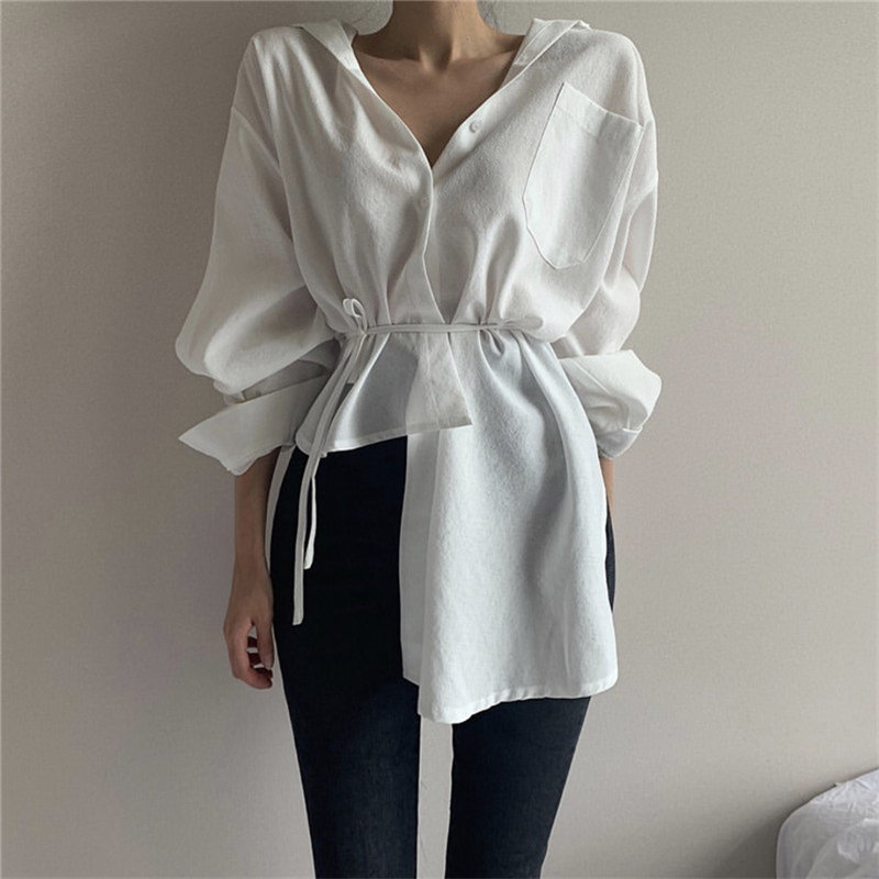 HziriP White Irregular New Lace-Up Full-Sleeved Hot Loose Casual Office Lady All-Match Brief Stylish Women Simple Solid Shirts