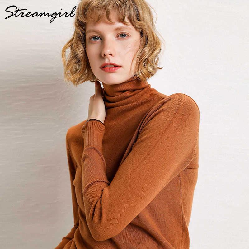 女性のタートルネックカシミヤのセーター女性暖かいジャンパーレディースプルオーバー秋冬女性のセーター黒セータータートルネック