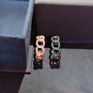 Image 2 - SLJELY Fashion Rock różowe złoto kolor 925 srebro różowy łańcuszek Link Ring Finger Micro Pave cyrkon kobiety wrzesień biżuteria
