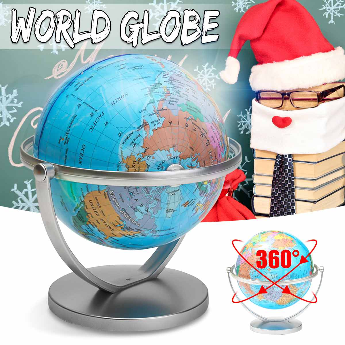 18/20cm World Globe Map With Swivel Stand Ocean Globe Geography Educational Desktop Decoration Kids Toy School Teaching Supplies