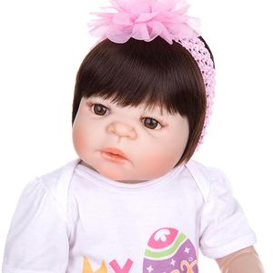 Image 5 - KEIUMI New Arrival Toy Reborn Baby Dolls Full Silicone Vinyl Body Lifelike 23 Inch Babies Dolls Girl Birthday Gift For Sale
