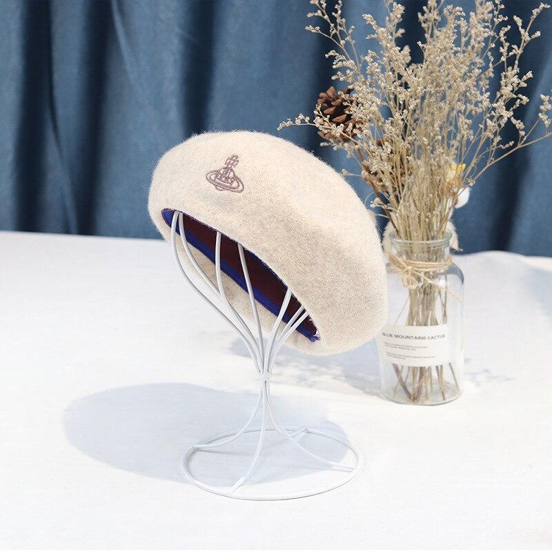 Шерстяной берет для женщин на осень и зиму, новая декоративная шерстяная шапка с жемчужной сеткой, Модная элегантная шерстяная шапка