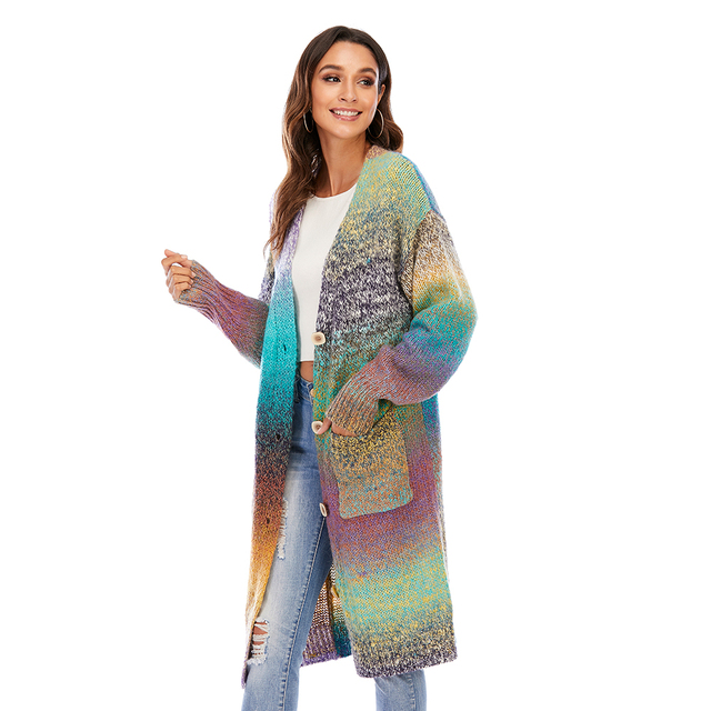 CGYY Women's Lightweight Rainbow Color Striped  Loose Causal  Long Sleeve Open Front Breathable Cardigans Sweater With Pockets 5