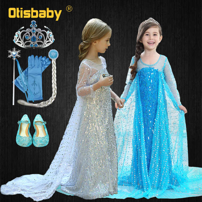 Girls Elsa Sequins Party Princess Dress Baby Girls Summer Elegant Long Sleeve Blue Dresses Birthday Party Fantasy Ball Dress