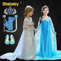 Mädchen Elsa Pailletten Party Prinzessin Kleid Baby Mädchen Sommer Elegante Langarm Blau Kleider Geburtstag Party Fantasie Ball Kleid