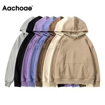 Aachoae Women Fleece Hoodies Sweatshirt 2020 Winter Solid 100% Cotton Hooded Sweatshirt Casual Loose Jumper Pullover Jacket