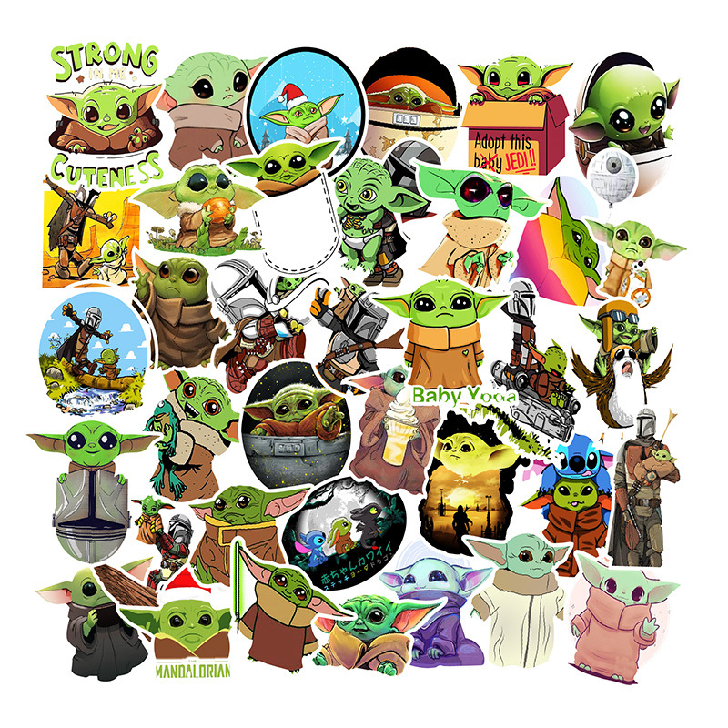 NEW 50PCS The Mandalorian Baby Yoda Sticker Scrapbooking Suitcase Decal Skateboarding Motorcycle Children Gift Toy Stickers F5
