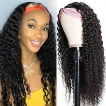 Headband Wig Human-Hair Curly Remy Black Full-Machine Natural-Color Women Peruvian