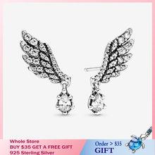 Женские серьги подвеска «Ангел» из серебра 100% пробы с цирконами