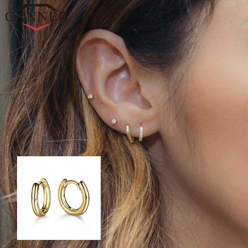 925 スターリングシルバー人格クリエイティブヘビ小さなフープイヤリング女性のためのゴールドシルバーカラーの幾何学サークルイヤリングジュエリー