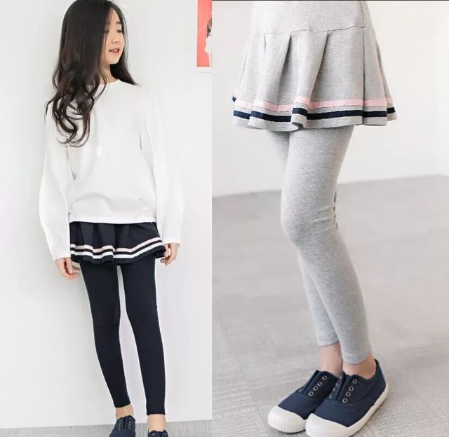 3 4 5 6 7 שנים בנות מכנסיים אביב סתיו קוריאני חצאית חותלות מזויף שני חתיכות מכנסי חצאית הגעה חדשה לפעוטות תינוק מכנסיים חדש