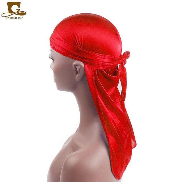 Fashion Men's Satin Durags Bandanna Turban Wigs Pirate Hat Men Silky Durag Headwear Headband 10