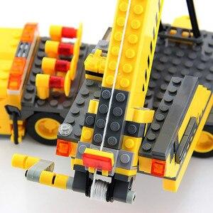 Image 3 - 380 sztuk miasto żuraw ciężarówka urządzenie inżynieryjne budowa Technic zestawy klocków budowlanych Playmobil DIY montaż cegieł zabawki dla dzieci