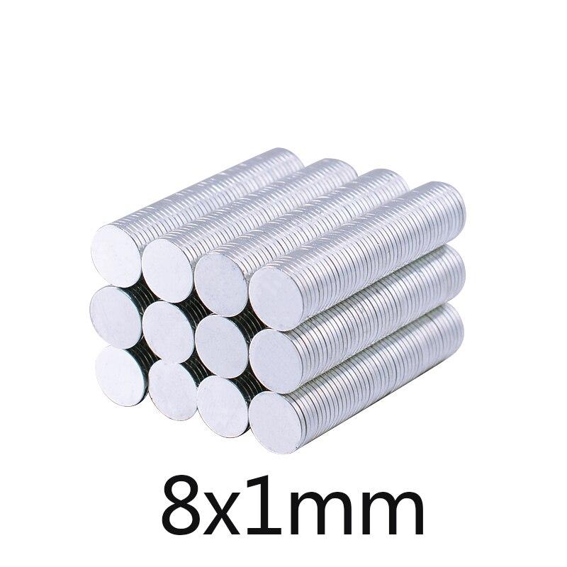 100/300/500/1000 pces 8mm x 1mm pequeno ímã de neodímio fino n35 geladeira magnético casa decorações 8*1mm