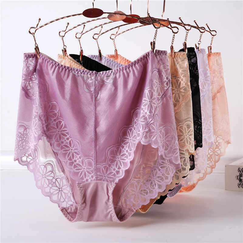 Ukuran Besar Pinggang Tinggi Celana Dalam Wanita Pakaian Dalam Wanita Ukuran Besar Celana Plus Ukuran Transparan Renda Seksi Celana Dalam Wanita 5XL 6XL