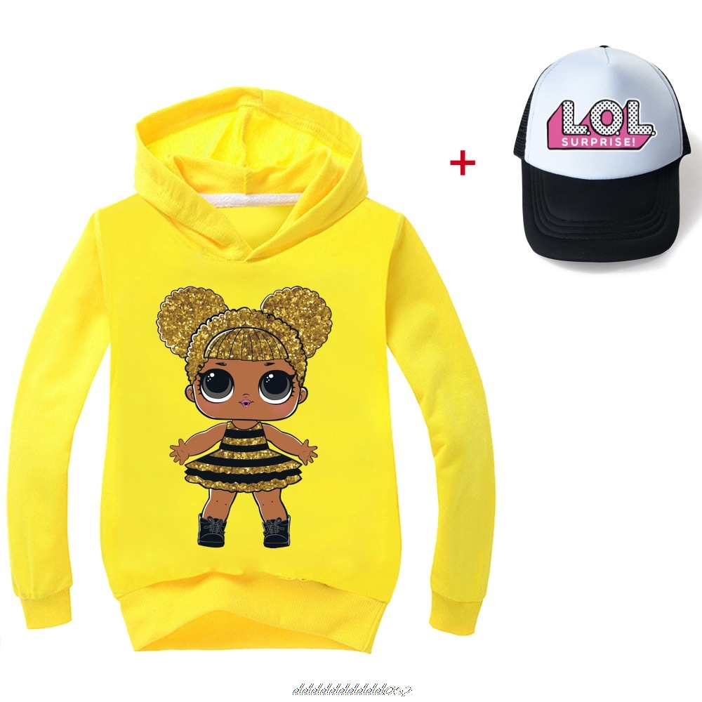 Gris L.O.L. SURPRISE! Hoodies Girl Fashion Hoodie Children Casual Pullovers Printed Sweaters Long Sleeves Kids Autumn Clothes 2