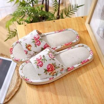 Spring Autumn Women Home Slippers Indoor Floor Soft Couple Linen Slipper Lightweight Unisex Bedroom Shoes Ladies Flax Flip Flops 3