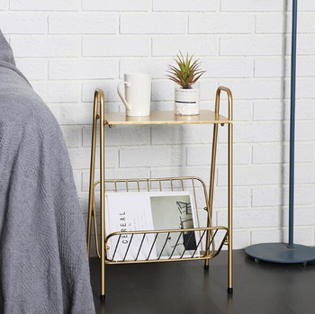 Creative Golden Iron coffee table Living room Sofa Side Table Movable Small end Table with book magazine rack Home Furniture