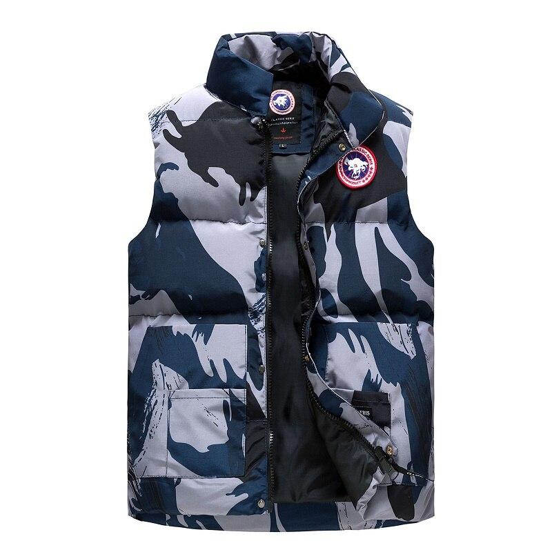 Windproof Waterproof Winter Parkas Men Vest Sleeveless Jacket Camouflage Stand Collar Vest Men Waistcoat Men Clothing M-4XL