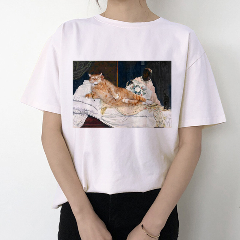 Summer Funny Cat Women T Shirt 2019 Casual Short Sleeve Korean Kawaii Ulzzang Tshirt Female White Print O-neck Top Tees Mujer