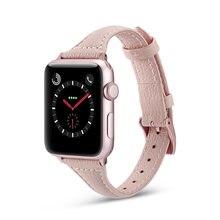 Тонкий кожаный ремешок для apple watch band 44 мм 40 42 38 браслет