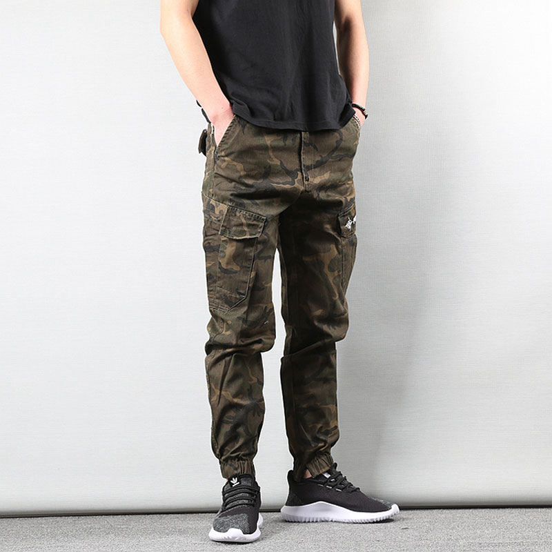 2020 New Style High Street Fashion Mens Jeans Jogger Pants Military Elastic Waist Drawstring Banded Jeans Men 322