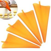 10/12/14/16 Polegada laranja silicone diy cupcake confeiteiro piping creme pastelaria sacos reutilizáveis cozinha gadgets ferramentas de decoração do bolo