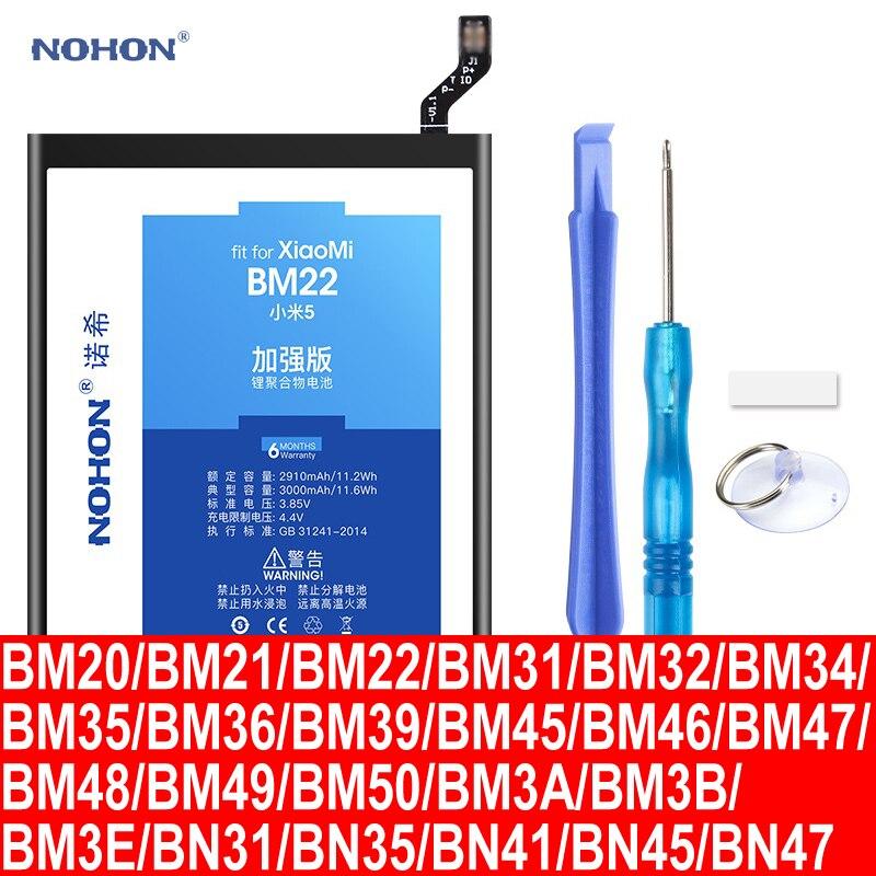Nohon Battery For Xiaomi Mi 5 2 2s 4 BM22 Mi5 BM20 BM32 BM36 Mi6 BM39 BM21 BM35 BM45 BM47 BM48 BM49 BM50 BN31 BN35 BN41 BN45/47