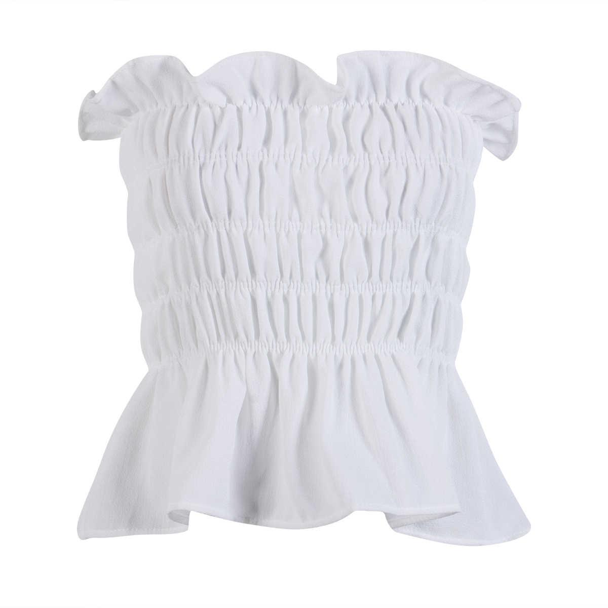 2019 Satu Ukuran Wanita Musim Panas Atasan Kasual Tanpa Lengan Off Bahu Slash Leher Padat Seksi T-shirt
