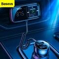 Автомобильный fm-передатчик Baseus Bluetooth 5,0 3.1A USB Автомобильное зарядное устройство AUX Handsfree беспроводной автомобильный комплект Авто fm-радио мо...