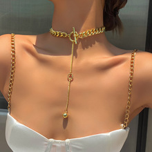 KMVEXO New Trend Hip hop Gold Plated Thick Chain Metal Ball Long Chain Clavicle Necklace for Men Women Girls Party Jewelry Gift