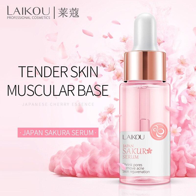 LAIKOU Sakura Face Serum Japan Skin Care Shrink Pores Remove Acne Liquid Moisturizing Face Essence Brighten Serum 15ml