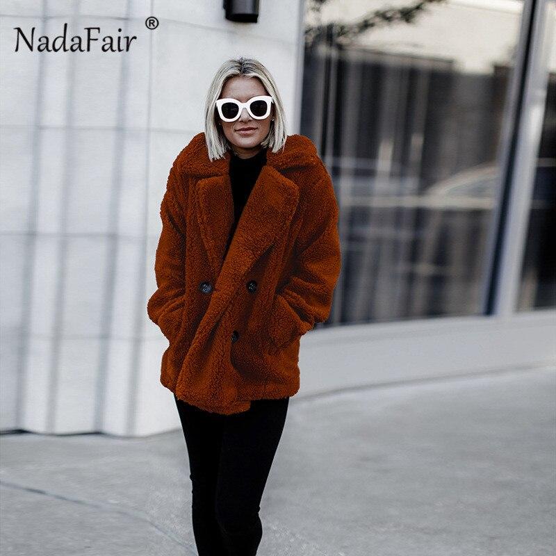 Nadafair plus size fleece faux fur jacket coat women winter pockets thicken teddy coat female plush overcoat casual outerwear 4