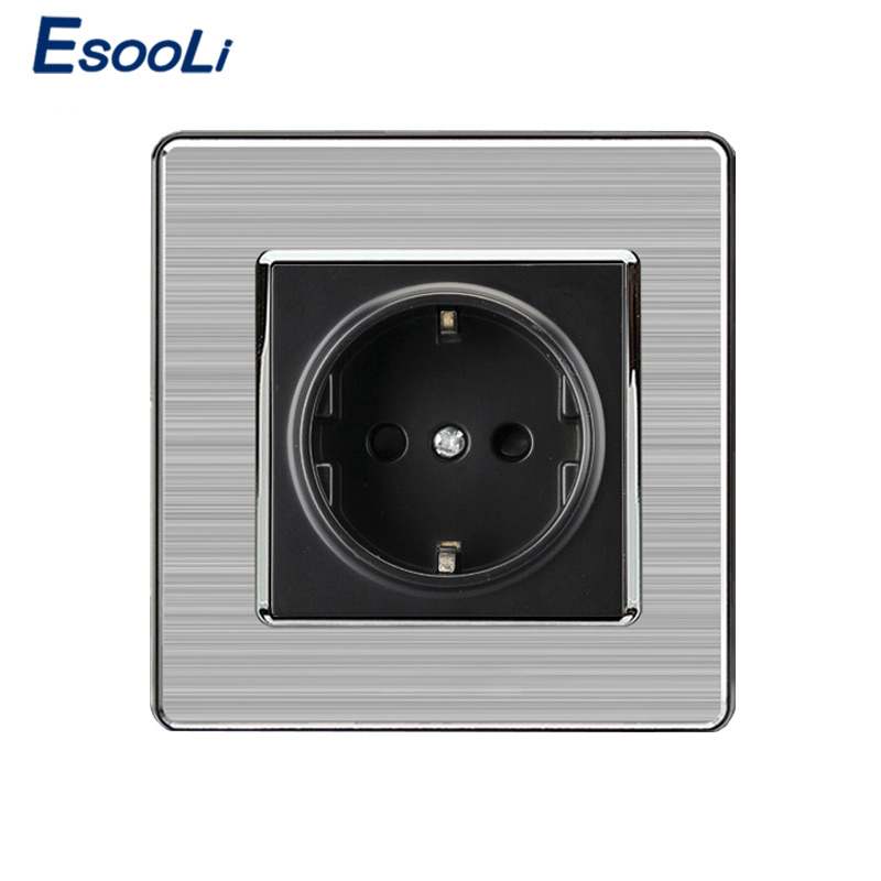 EU Standard Wall Socket Luxury Power Outlet Stainless Steel Brushed Silver Panel Electrical Plug