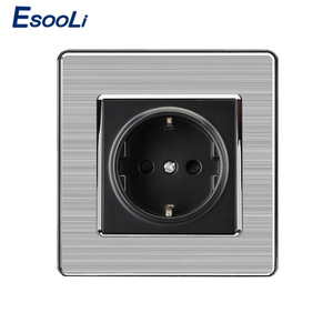 EU Standard Wall Socket Luxury Power Outlet Stainless Steel Brushed Silver Panel Electrical Plug(China)